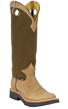 Justin Tuff Men's Brown and Tan Round Toe Snake Boots