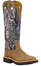 XEMJustin Men's Distressed Brown w/ Green Camo Top Square Toe Snake Proof Boots