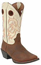 Justin Stampede Collection Men's Brown Oiled & Bone Punchy Square Toe Western Boots