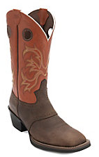 Justin Stampede Men's Rugged Tan w/Orange Top Saddle Vamp Double Welt Square Toe Western Boots