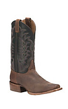 Justin Men's Dark Brown with Black Upper Western Square Toe Boots