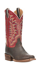 Justin Men's Dark Brown with Red Upper Punchy Square Toe Boots