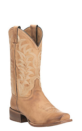 Justin Men's Golden Tan with Cream Embroidery Western Square Toe Boots