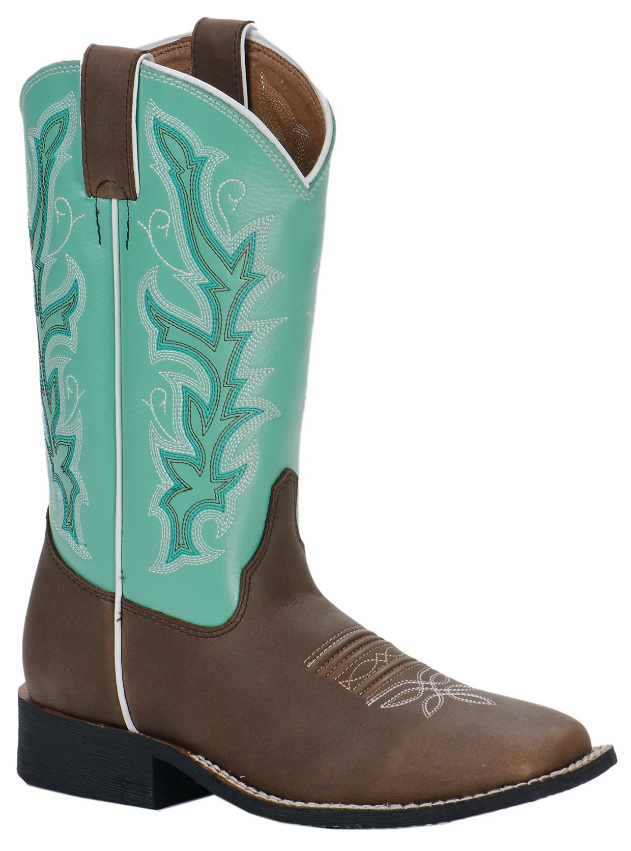 Justin Youth Chocolate Brown w/ Sea Green Top Square Toe Western ...