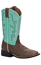 Justin Youth Chocolate Brown w/ Sea Green Top Square Toe Western Boots