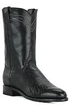 Justin Mens Black Smooth Ostrich Exotic Roper Boots