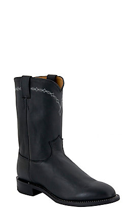 Justin Men's Brock Black Leather Roper Boots