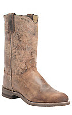 Justin Men's Vintage Tan Road Leather Roper Boots