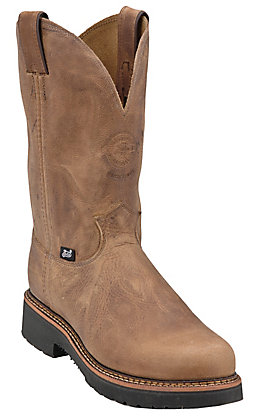 Justin Blueprint Men's Tan Gaucho Round Soft Toe Work Boots