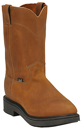 Justin Conductor Men's Brown Round Soft Toe Work Boots