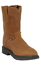 Justin Original Workboots Men's Aged Bark Brown Steel Round Toe Workboots