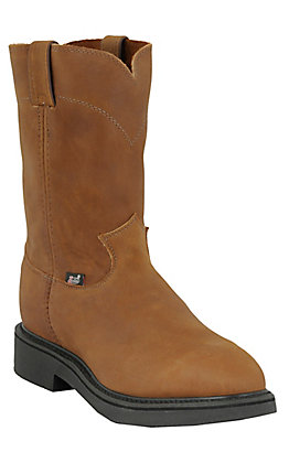 Justin Men's Conductor Tobacco Brown Round Steel Toe Work Boot