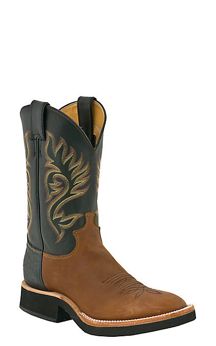 4220cde476a Justin Tekno Crepe Men's Coffee & Black Westerner Round Toe Western Boots