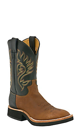 Justin Men's Tekno Crepe Coffee and Black Westerner Round Toe Western Boots