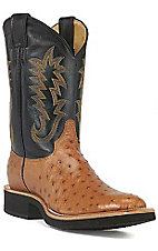 Justin Tekno Crepe Men's Cognac Full Quill Ostrich Exotic Crepe Sole Boots