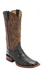 Justin AQHA Remuda Mens Black Smooth Ostrich with Brown Top Exotic Square Toe Boots