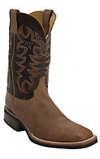 Justin AQHA Q-Crepe Men's Tan America w/ Chocolate Thoroughbred Top Square Toe Western Boots