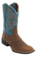 Justin Stampede Distressed Tan w/Blue Top Saddle Vamp Double Welt Square Toe Western Boots