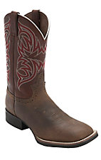 Justin Stampede Rugged Tan w/Rust Top Double Welt Square Toe Western Boots
