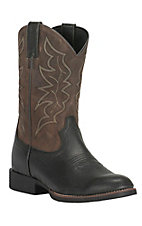Justin Men's Stampede Black with Brown Upper Round Toe Western Boots