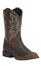 Justin Men's Stampede Distressed Chocolate Square Toe Western Boots