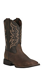 Justin Men's Stampede Brown with Chocolate Upper Square Toe Western Boots