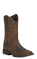 Justin Men's  Stampede Brown with Gold Stitching Square Toe Western Boots