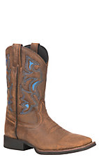 Justin Men's Stampede Collection Tan Bomber Stockman Western Square ToeBoot
