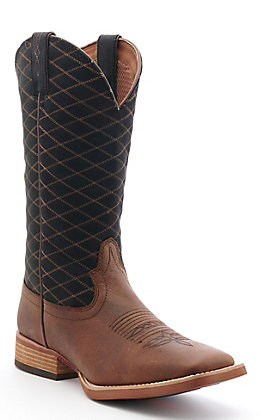Justin Stampede Men's Black Buffalo Wide Square Toe Western Boot