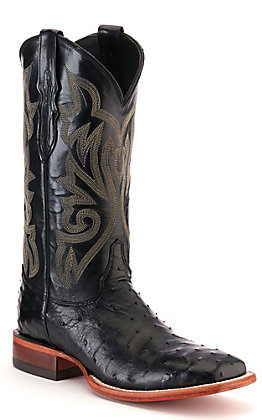 Justin Men's Black Full Quill Ostrich Wide Square Toe Western Boot - Cavender's Exclusive