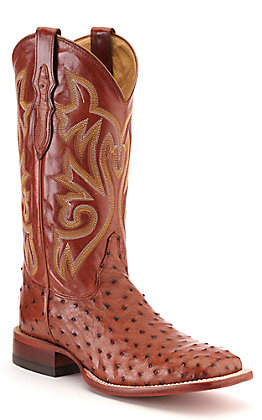 Justin Men's Brandy Brown Full Quill Ostrich Wide Square Toe Western Boot - Cavender's Exclusive