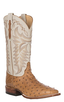 Justin Pascoe Men's Antique Saddle Maddog Full Quill Ostrich Wide Square Toe Exotic Western Boots