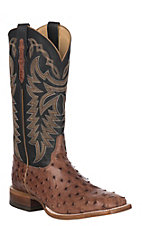 Justin Men's Pascoe Rum Brown Full Quill Ostrich Exotic Boot