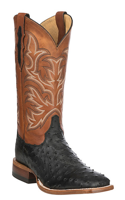 91d36715a2b Justin Men's Black Full Quill Ostrich Exotic Western Square Toe Boots