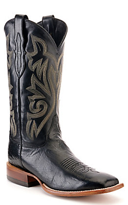 Justin Men's Black Smooth Ostrich Wide Square Toe Western Boot - Cavender's Exclusive
