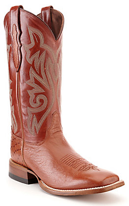 Justin Men's Brandy Brown Smooth Ostrich Wide Square Toe Western Boot - Cavender's Exclusive
