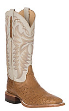 Justin Men's Ivory Smooth Ostrich Exotic Western Square Toe Boots