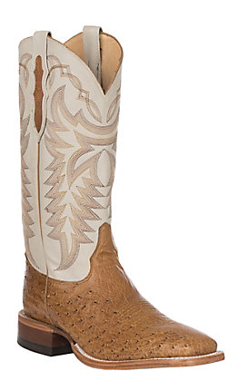 Justin Men's Pascoe Ivory and Antique Saddle Brown Smooth Ostrich Wide Square Toe Exotic Western Boots