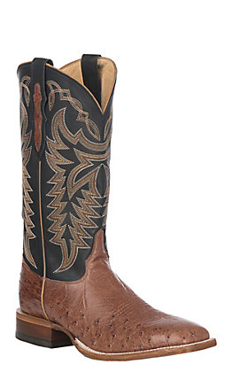 Justin Pascoe Men's Rum Brown Smooth Ostrich Wide Square Toe Exotic Western Boots
