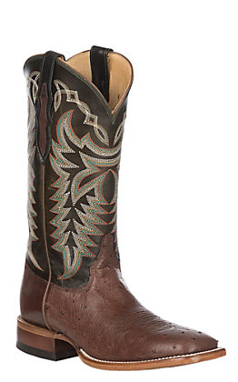 Justin Men's Pascoe Kango Tobacco and Dark Green Smooth Ostrich Wide Square Toe Exotic Western Boots