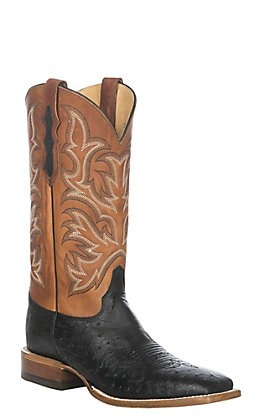 Justin Pascoe Men's Black Smooth Ostrich Wide Square Toe Exotic Western Boots