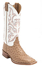 Justin AQHA Remuda Mens Brown Full Quill Ostrich w/White Top Exotic Square Toe Boot