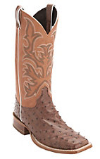 XKH Justin AQHA Remuda Mens Barnwood Brown Full Quill Ostrich Exotic Square Toe Boots