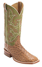 Justin AQHA Remuda Mens Brown Full Quill Ostrich Exotic w/ Green Square Toe Boots
