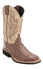 XKH Justin AQHA Q-Crepe Mens Barnwood Brown Full Quill Ostrich Exotic Square Toe Boots