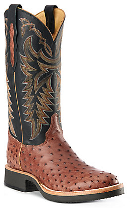 Justin Men's Whiskey Brown & Black Full Quill Ostrich Round Toe Exotic Western Boots
