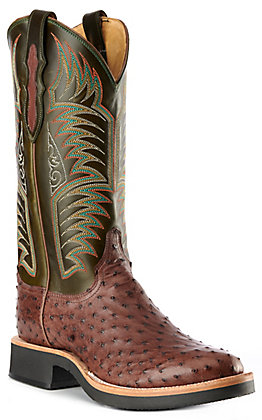 Justin Men's Dark Green & Brown Full Quill Ostrich Round Toe Exotic Western Boots