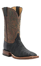 Justin AQHA Remuda Mens Black Elephant with Antique Tan Top Exotic Square Toe Boots