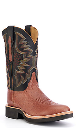 Justin Men's Whiskey Brown and Black Smooth Ostrich Round Toe Exotic Western Boots