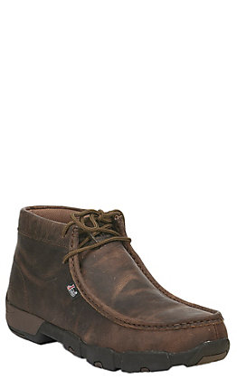 Justin Men's Light Brown Driving Moc Toe Lace Up Work Shoe